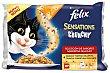 Alimento húmedo para gatos selección de sabores con topping crujiente Pack 3 x 100 g Purina Felix