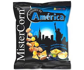 Grefusa Mister Corn Cócteles de frutos secos auténtico sabor a salsa sweet Carolina Bolsa 155 g