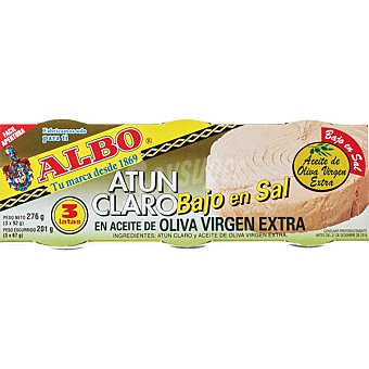 Albo Atún claro en aceite de oliva virgen extra bajo en sal pack 3 latas 67 g neto escurrido Pack 3 latas 67 g
