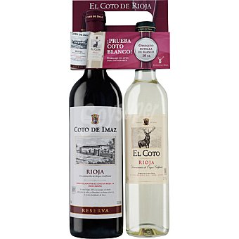 Coto de Imaz Vino tinto reserva D.O. Rioja botella 75 cl con regalo de vino blanco El Coto botella de 50 cl Botella 75 cl