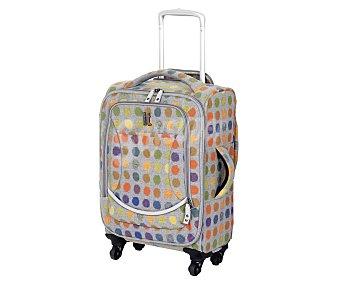 Itluggage Maleta de 4 ruedas, flexible, material: eva, estampado lunares multicolor Medidas: 57x38x22.