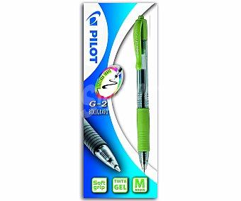 Pilot Bolígrafo retráctil de grip suave, punta media y tinta en gel de color verde lima con escritura suave 1 unidad