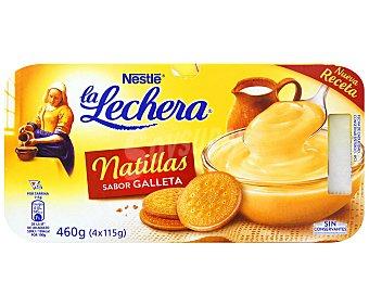 La Lechera Nestlé natillas sabor galleta  pack 4 unidades 115 g
