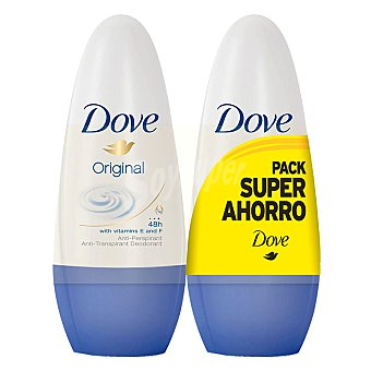 Dove Desodorante roll-on Original anti-transpirante Pack 2 envase 50 ml