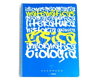 GUERRERO Cuaderno DIN A4 con cuadricula de 4x4 milímetros, margen izquierdo, 80 hojas de 70 gramos, tapas duras de color azul y microperforado con encuadernación con espiral metálica 1 unidad