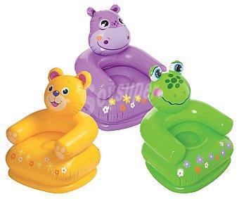 INTEX Sillón hinchable infantíl, con respaldo y reposabrazos, con la divertida forma de animales, de 20x6x23 centímetros y recomendado para niños de 3 a 8 años 1 unidad