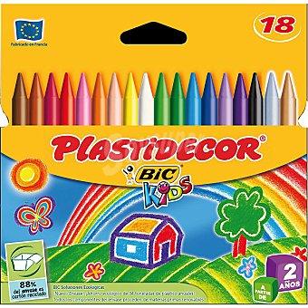 Plastidecor Bic Estuche con 18 ceras de colores Kids 18 unidades