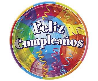 """Partygram Plato llano desechable """"feliz cumpleaños"""", 23 centímetros de diámetro 8 unidades"""