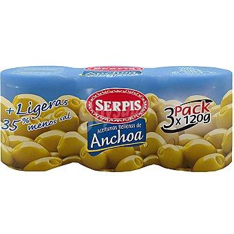 Serpis Aceitunas rellenas de anchoa + ligeras 35% menos sal 3 envases de 50 g