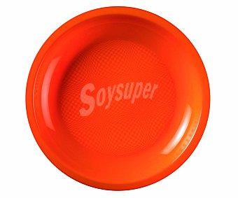 NV CORPORACIÓN Platos llanos de plástico desechables color naranja, 22 centímetros de diámetro 6 unidades