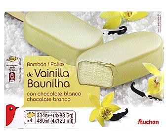 Auchan Bombón helado gigante de vainilla con cobertura de chocolate blanco, pack 4 unidades de 120 mililitros 4x120ml