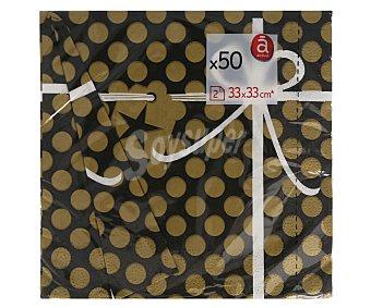 Actuel Servilletas de papel de doble capa con diseño de lunares en color negro y oro, 33x33 centímetros 50 unidades