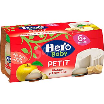 Hero Tarrito de plátano-manzana-queso Petitbaby Pack 2x80 g