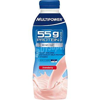Multipower Batido de proteína 55g sin carbohidratos sabor fresa botella 500 ml 55g