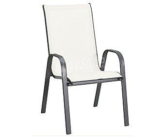 GARDEN STAR Silla fija y apilable para jardín. Fabricada en acero con asiento de textileno de color beige y medidas: 71x55x96 centímetros 1 unidad