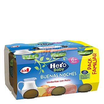 Hero Baby Buenas Noches Tarrito de pollo con verduras desde 6 meses sin sal añadida sin aceite de palma Pack de 6 unidades de 190 g