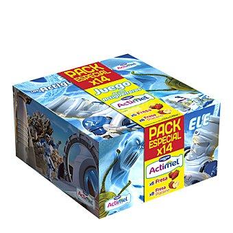 Danone - Actimel Yogur líquido 6 fresa + 8 fresa y plátano Danone pack de 14x100 g
