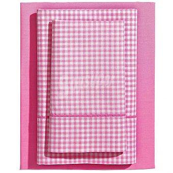 CASACTUAL Vichy Juego de cama en color rosa para cama 105 cm