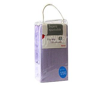 Auchan Sábana bajera ajustable de franela color lila para camas de 150 centímetros auchan