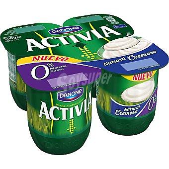 Danone Activia Yogur natural cremoso 0% materia grasa Pack 4 unidades 125 g
