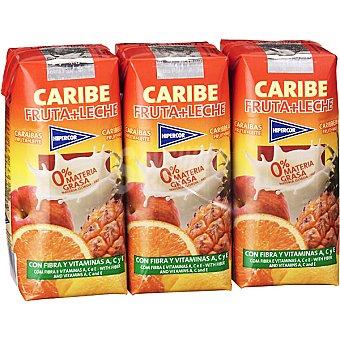 HIPERCOR Caribe zumo con leche  pack 3 envase 33 cl