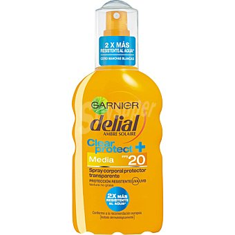 Delial Garnier Spray corporal protector transparente FP-20 resistente al agua Clear Protect Spray 200 ml