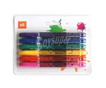 AUCHAN Lote de Marcadores de Tinta con Purpurina 6 Unidades