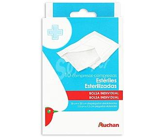 Auchan Compresas estériles de gasa de 30 x 30 cm, transpirables y de algodón 100% 10 uds