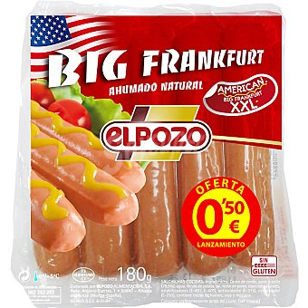 ElPozo Salchichas ahumado natural tamaño Xxl Big Frankfurt Envase 180 g