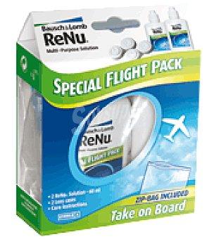 Bausch&Lomb Especial Fligh pack :solución única renu Multiplus + 2 portalentes Bausch + Lomb Pack de 2x60 ml
