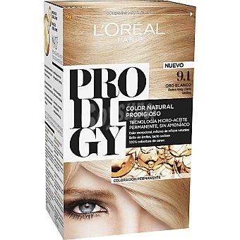 Prodigy L'Oréal Paris Tinte Oro Blanco Rubio muy claro ceniza nº 9.1 color natural prodigioso caja 1 unidad tecnología micro-aceite permanente sin amoniaco Caja 1 unidad