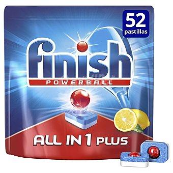 Finish Pastillas lavavajillas todo en 1 aroma limón  Bolsa 52 pastillas