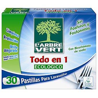 L'ARBRE VERT Detergente lavavajillas todo en 1 con bicarbonato de sodio ecológico Caja 30 pastillas