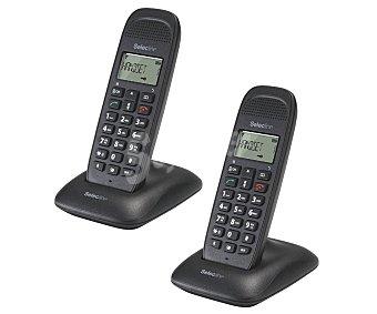 SELECLINE CALLER Teléfono inalámbrico dúo Dect (producto económico alcampo) Negro, agenda 50 contactos, registro de ultimas 20 llamadas, alcance 50m interior y 300m exterior,
