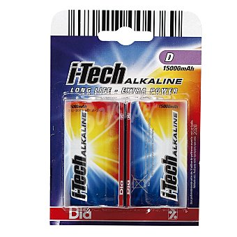 DIA Pilas D grandes i-tech alkaline 2 ud 2 ud