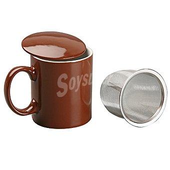 QUO Desayuno Taza de infusión con filtro en color chocolate 350 ml