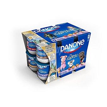 Danone Yogur Fresa-Macedonia-Galleta y Plátano 12 unidades de 125 g