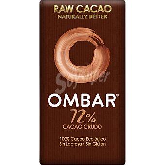 Ombar Chocolate crudo negro 72% cacao, 100 %ecológico, sin lactosa y sin gluten unidad 35 g