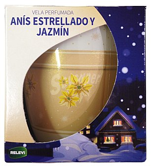RELEVI VELA PERFUMADA TACO AROMA ANIS Y JAZMIN DECORACION ESTRELLAS DORADAS 1 u