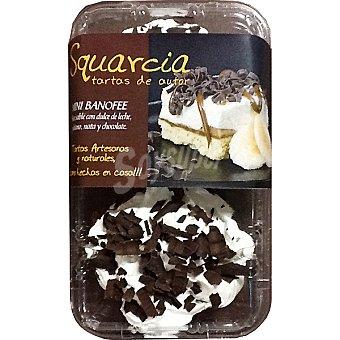 SQUARCIA TARTAS DE AUTOR Banoffe Tarta artesana de sablé con dulce de leche plátano nata y chocolate negro Estuche 220 g
