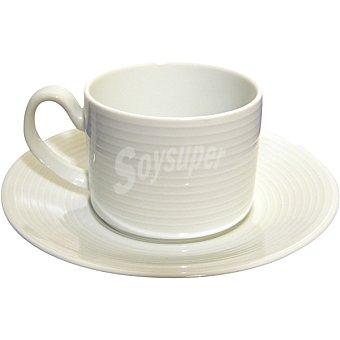 SANTA CLARA Taza de desayuno con plato de porcelana en color blanco pack 3 unidades Pack 3 unidades