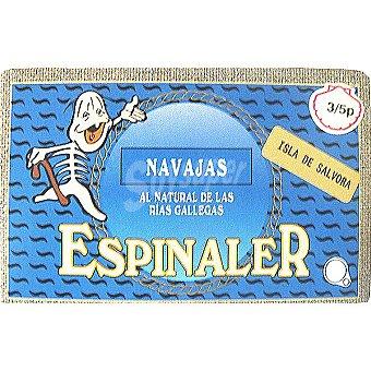 Conservas Espinaler Navajas al natural de las rías gallegas 3-5 piezas lata 65 g neto escurrido Lata 65 g neto escurrido