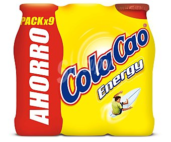 COLA CAO ENERGY Batido de cacao Pack Ahorro 9 envases 188 ml