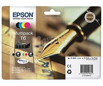 Epson Cartuchos Estilográfica Multipack 16- Compatible con impresoras: WF-2010W / WF-2510WF / WF-2520NF / WF-2530WF / WF-2540WF