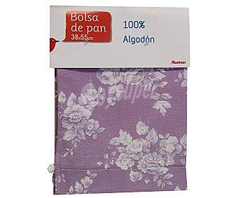 Auchan Bolsa de pan estampado floral color violeta, 38x55 centímetros 1 Unidad