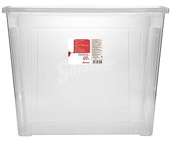 AUCHAN Caja de ordenación con tapa, capacidad de 67 litros, fabricada en plástico transpartente, medidas: 58,2x38x45,8 centímetros 1 Unidad