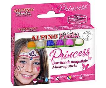 Alpino de maquillaje de 5g de colores, Princess alpino Estuche con 6 barritas