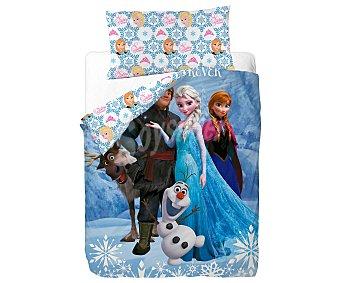 frozen Funda nórdica 50% algodón con estampado infantil más funda para almohada, 90cm. Disney FROZEN.