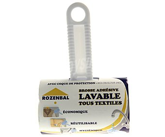 Rozenbal Cepillo adhesivo lavable con cubierta protectora para quitar pelusas, polvo, pelos, etc 1 unidad
