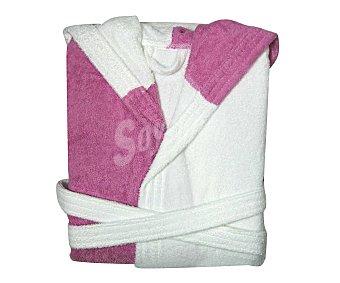 Productos Económicos Alcampo Albornoz infantil de rizo bicolor, lila y blanco, talla 10 años 1 Unidad